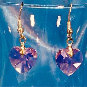 Jewelry - Pink crystal heart earrings w/sterling silver